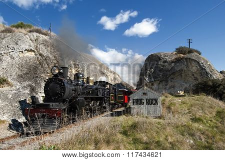 Steam train passing Frog Rock, Canterbury, New Zealand