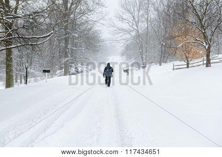 Lone Man Walking Down Street During Snowstorm