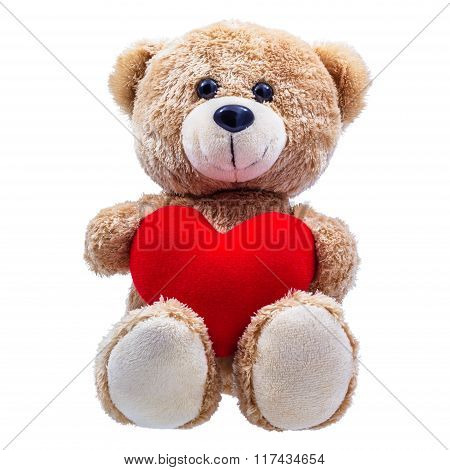 Teddy Bear hug Red Heart-shaped Pillow