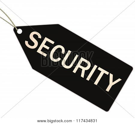 Security Black Tag With String