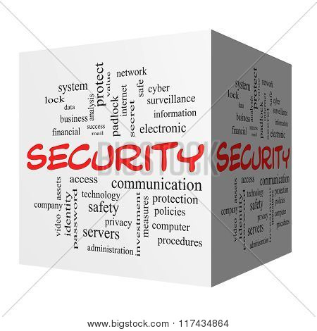Security 3D Word Cloud Concept In Red Caps
