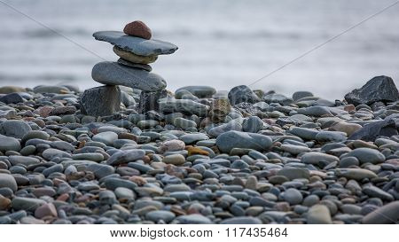 Inukshuk On The Coast In Eastern Passage, Canada