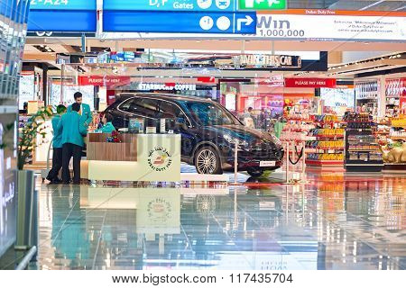 DUBAI - NOVEMBER 16, 2015: interior of Dubai Duty Free Level. Dubai Duty Free is the largest single airport retail operation in the world