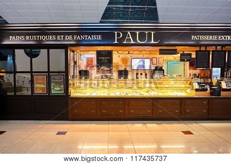 DUBAI, UAE - NOVEMBER 16, 2015: interior of Paul cafe. Paul is a French chain of bakery/cafe restaurants established in 1889 in the city of Croix, in Northern France, by Charlemagne Mayot