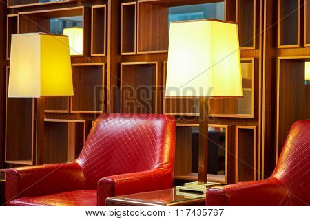 DUBAI, UAE - NOVEMBER 16, 2015: Emirates business class lounge interior. Emirates is the largest airline in the Middle East. It is an airline based in Dubai, United Arab Emirates.