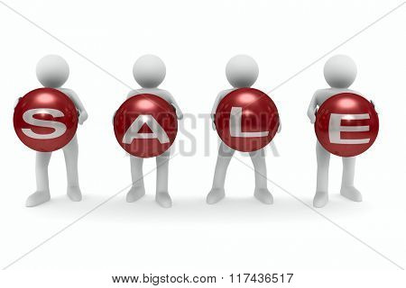 Sale on white background. Isolated 3D image