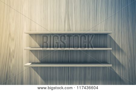 3D Isolated Empty Shelf For Exhibit On Wood Background