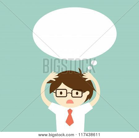 Business concept, Businessman is thinking something. Vector illustration.