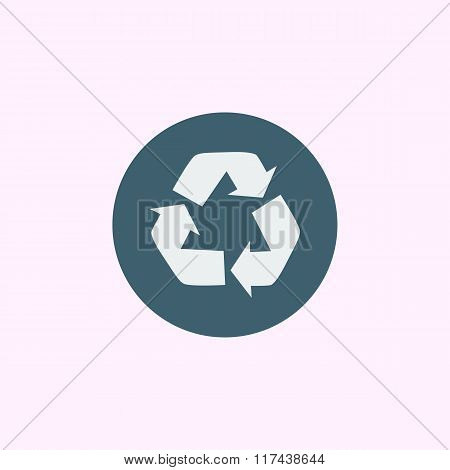 Recycle Icon, On Blue Circle Background, White Outline