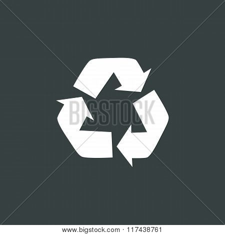 Recycle Icon, On Dark Background, White Outline, Large Size Symbol
