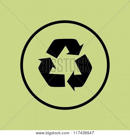 Recycle Icon, On Green Background, Circle Border, Dark Outline