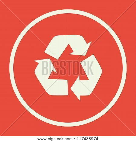 Recycle Icon, On Red Background, White Circle Border, White Outline