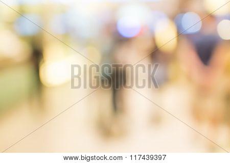 Defocused People Walking In Shopping Department Store.