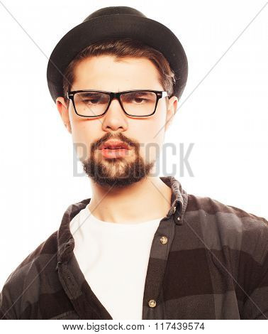 Young hipster man wearing hat