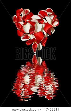 A heart with petals of roses on a black with  reflection in water