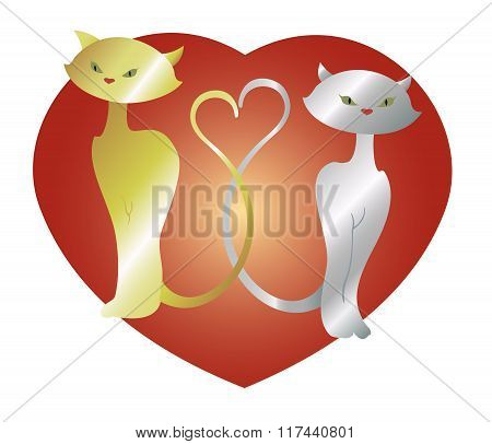 Cats in love with heart. EPS10 vector illustration