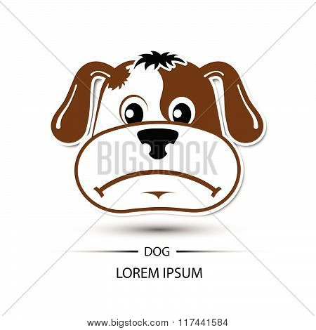 Dog Face Frown Logo And White Background Vector Illustration