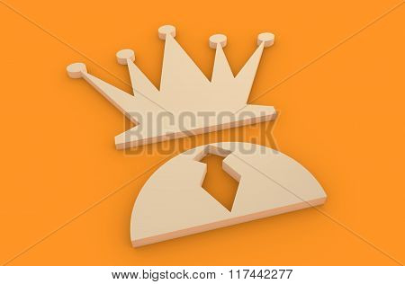Businessmans With Hat As Chess Queen. Leadership Metaphor
