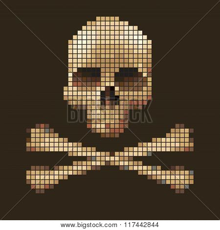 Skull and crossbones collected from pixels.