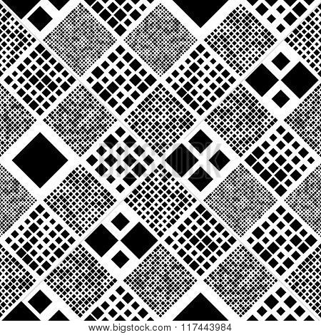 Seamless Square Pattern. Vector Black and White Background
