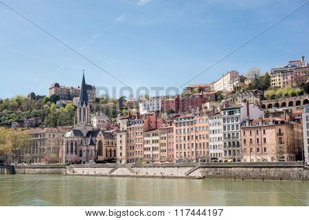 Lyon Cityscape From Saone River. Old Lyon And Fourviere Basilica