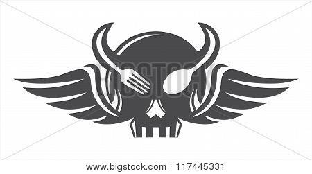 Skull eat horn wings