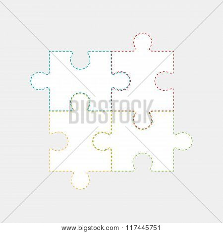 Vector Illustration Of Four Colorful Puzzle Pieces