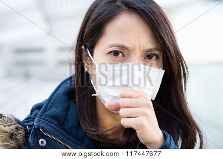 Woman wearing medical face mask