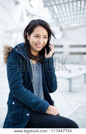 Woman enjoy talk to cellphone