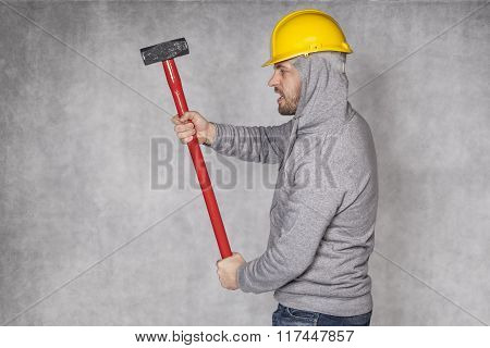 Builder On A Grey Background, The Keeper Hammer