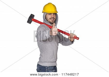 Thumbs Up From Manual Worker