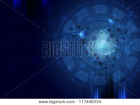 Dark blue technology abstract background. Vector technical graphic template design