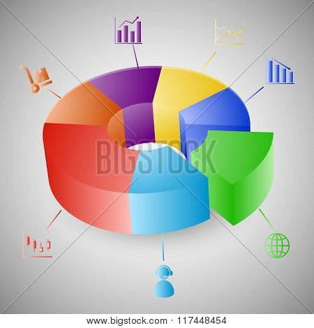 3D Pie Chart Graph Infographic