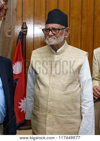 KATHMANDU, NEPAL - JULY 5, 2015: Prime Minister of Nepal Mr Sushil Koirala at PM's official residence. Mr Sushil Koirala died on February 9, 2016.