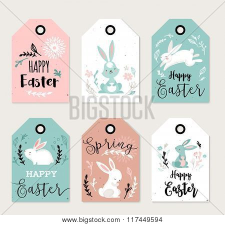 Easter tags, labels with cute banny