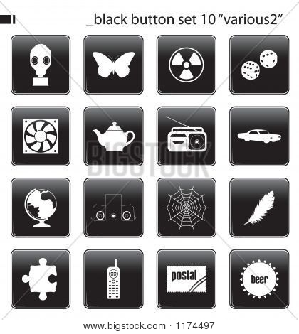 Black Button Set 10