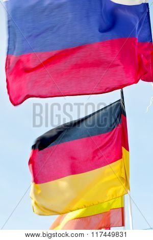 World Waving Flag In The Blue Sky  Colour And Spain