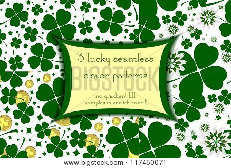 Set Of Three Seamless Floral Patterns With Lucky Green Clover
