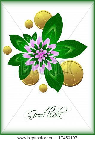 Holiday Card With Lucky Clover Leaves And Flower On White Background For St. Patrick's Day