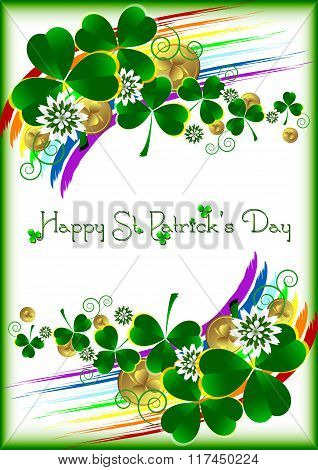 Holiday Card With Lucky Clover Ornament On White Background For St. Patrick's Day. March 17