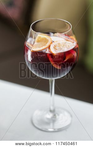 Glass Of Sangria Spanish Red Wine Cocktail Drink
