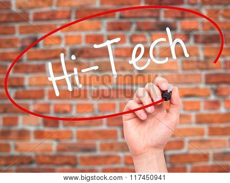 Man Hand Writing Hi-tech With Black Marker On Visual Screen.