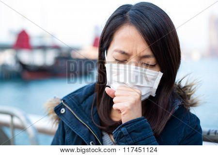 Asian woman wear face mask in Hong Kong