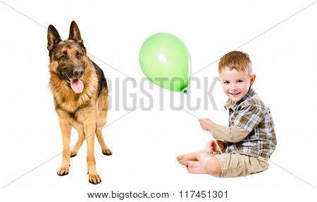 Happy boy and German Shepherd