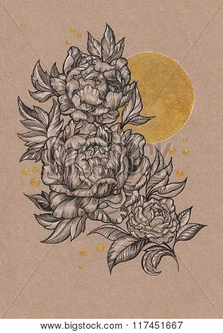 Drawn By Hand Card, Peony Flower And Sun