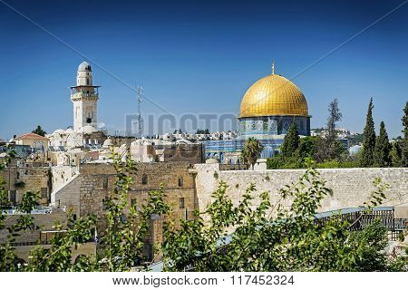 Mosques In Old Town Of Jerusalem Israel