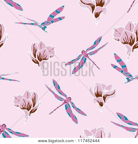 Seamless pattern with dragonflies and magnolias