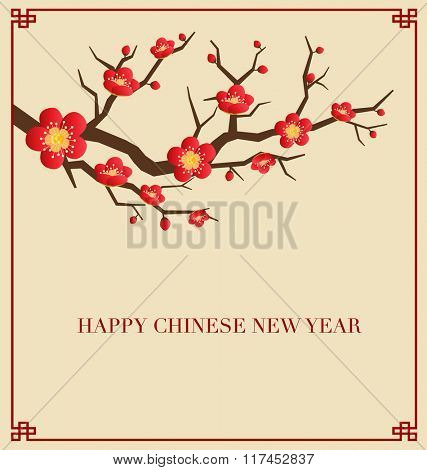 Chinese New Year Greeting Card. Vector Illustration.