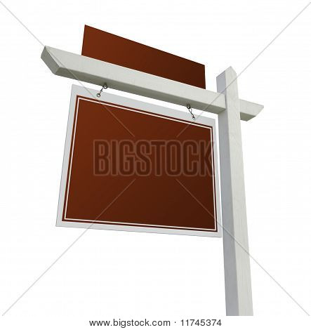 Blank Red Real Estate Sign On White