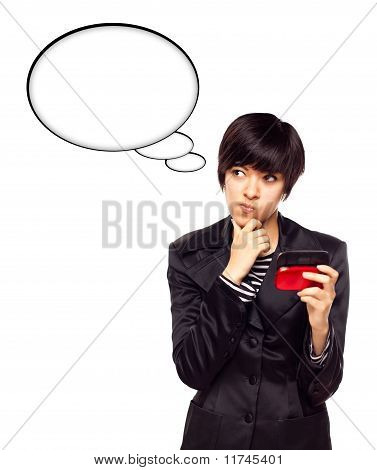 Beautiful Multiethnic Young Woman With Cell Phone And Blank Thought Bubbles